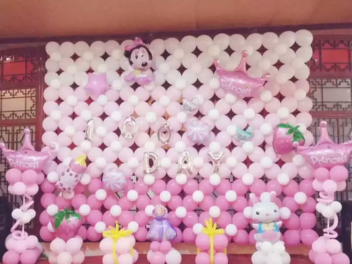 白天宴气球布置 气球背景墙
